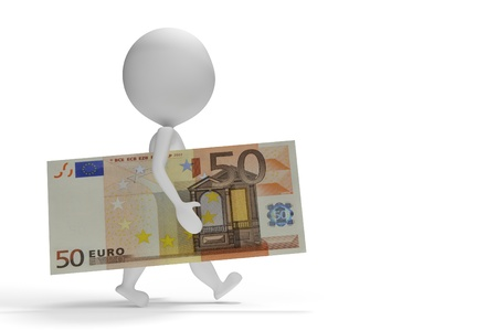 50 euro: 3d small man walking with 50 euro on white background