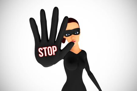 stop gesture: Woman thief with hand in block position on white background