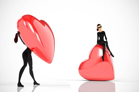 Woman thief sits over a big heart on white background photo