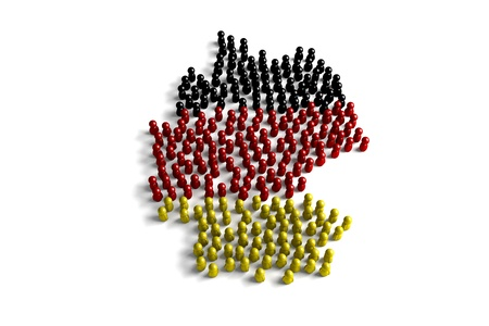Population of the Germany represented by 3d character on white background Banco de Imagens