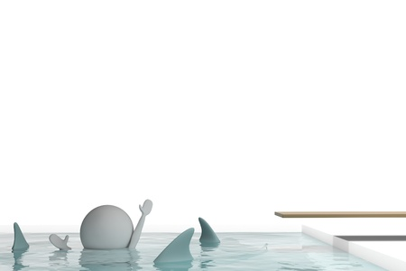 3d human drowns in a swimming pool with sharks on white background