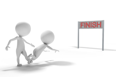 A smart man trips a competitor man up before He arrives to the finish line