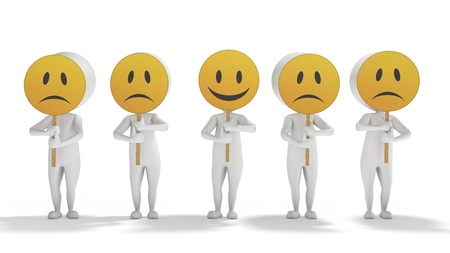 3d white human aligned with emoticon symbols on face on a white background  Standard-Bild