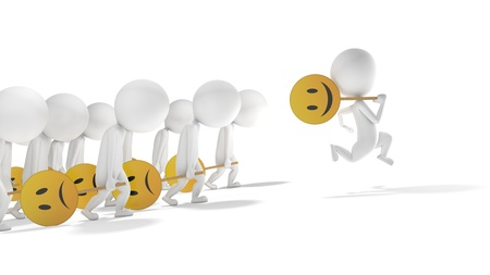 3d white smiling character motivated  The other are very sad photo