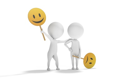 Two 3d white men with emoticons symbols like example of optimism and pessimism Stock Photo