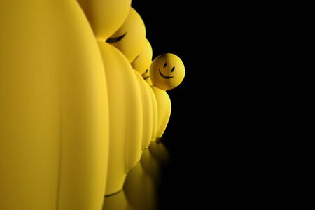 aligned: A 3d yellow stylized character aligned in a row is displaced to watch ahead on a black background