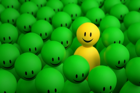 A 3d yellow character comes out from the crowd on a black background Stock Photo
