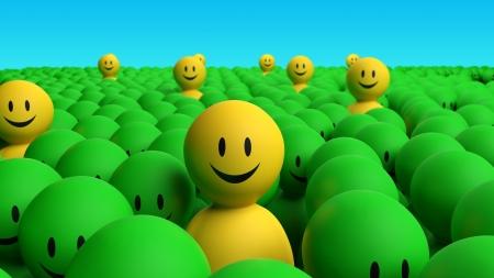 optimismo: Algunos caracteres 3d amarillo sale de la multitud en un fondo negro