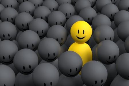 optimismo: Un personaje 3d amarillo sale de la muchedumbre gris Foto de archivo