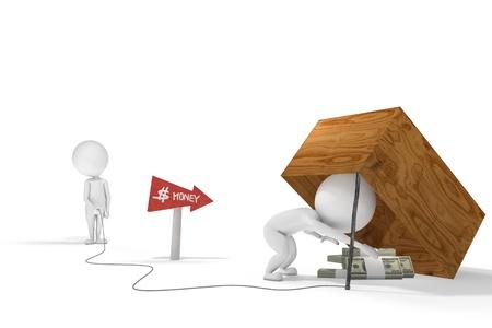 3d human: Figura humana 3d cae en la trampa creada con algunos proyectos de ley por otro personaje