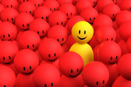 A 3d yellow character comes out from a red crowd Standard-Bild