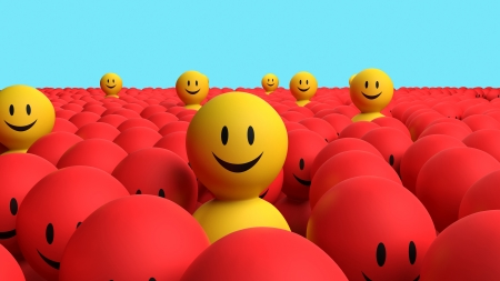 boring: Some 3d yellow character comes out from a red the crowd Stock Photo