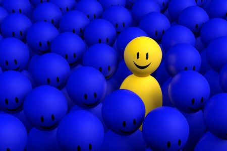A 3d yellow character comes out from a blue crowd photo