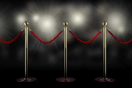 Drei Seil-Schranke und rotem Samt Schnur mit Blitzlicht Standard-Bild - 20839579