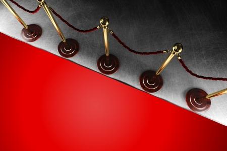トップ ビューで大きな赤いカーペットとベルベット ロープ バリア