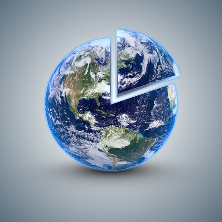 detriment: Globe world with a 20 percent detached on a gray blue background Stock Photo
