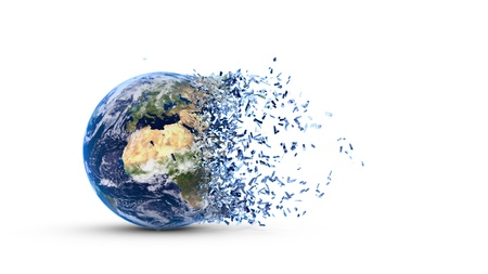 disintegration: Disintegration of the world globe isolated on white background Stock Photo