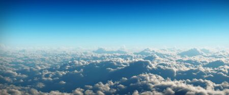Clouds in widescreen view on blue background Banco de Imagens