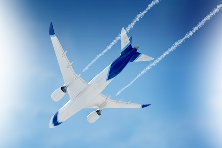 Airliner shape fly on camera in sunny and blue sky