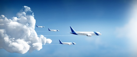 Aircrafts travel in different destinations in widescreen side view