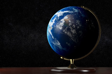 Realistic globe on a table with the space on background