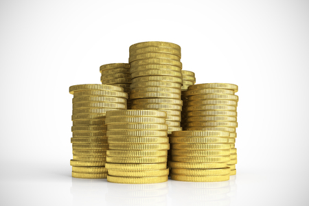 greediness: Cash piles isolated from white background in front view Stock Photo