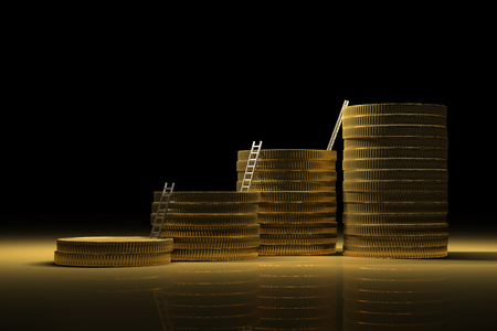 Success way for abundance made by gold stacks on black background