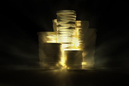 Bright gold fortune illuminates a black scene with volumetric lights