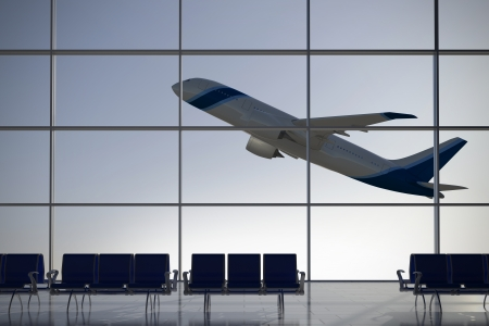 flyaway: Inside Terminal with plane shape taking off on background