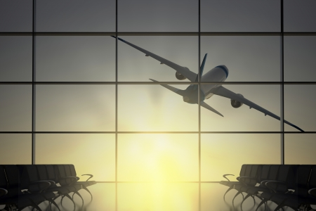 Inside Terminal with airplane shape flying on the sun Standard-Bild
