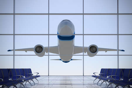 Inside Terminal with airplane shape flying over it