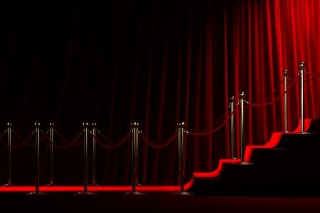 빨간 커튼 배경에 명성을위한 계단