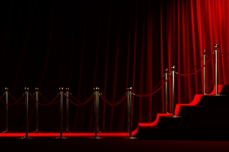 velvet rope barrier: Staircase for fame on red curtain background Stock Photo