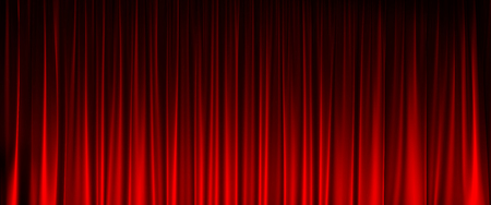new entry: red velvet curtain with light in front view Stock Photo