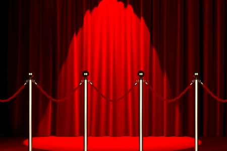 Velvet red rope barrier with a shining curtain on the background