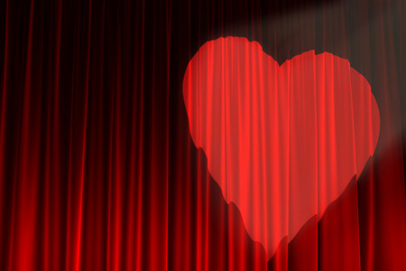 A spotlight lights up a red curtain stage in St Valentine