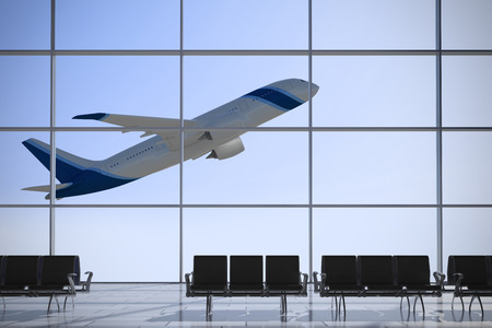 Inside Terminal with plane shape taking off on a sunny day photo