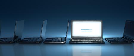 Innovative top-Nocht laptop computer on-line on blue background Standard-Bild