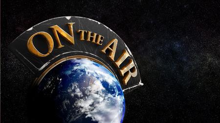 Global media information on air - widescreen view Banco de Imagens