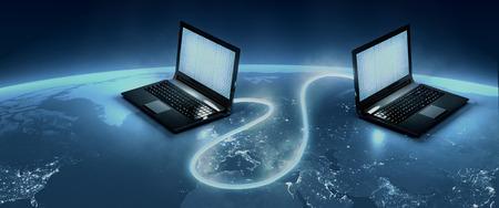 peer to peer: Conexión de alta velocidad entre los equipos de un mundo grande mapNASA Planet Images utilizados en composites: Luces de la noche mapa plano (http:visibleearth.nasa.gov)