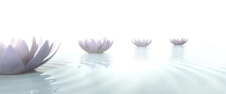 Zen pad getekend met lotusbloemen op het water