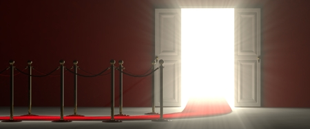 red velvet rope: A footpath leads you to an open door. The door means opportunities and success. Stock Photo