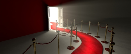 red wall: Pathway for triumph is a path delimited by an illuminated red carpet red velvet rope barrier and golden supports.