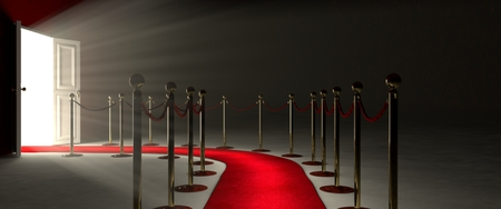 Pathway for triumph is a path delimited by an illuminated red carpet, red velvet rope  barrier and golden supports. The footpath starts in front of you and leads you to a white open door. Beyond the glorious door there is a white illuminated environment t
