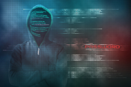Anonymous and skilled hacker encodes protected data from binary code in a pixelated blue and red background