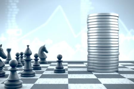 Pawn leads chess pieces against financial capital to capture it Banco de Imagens