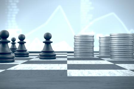 Schaken pion voor de stapels geld op een blauwe financiële achtergrond