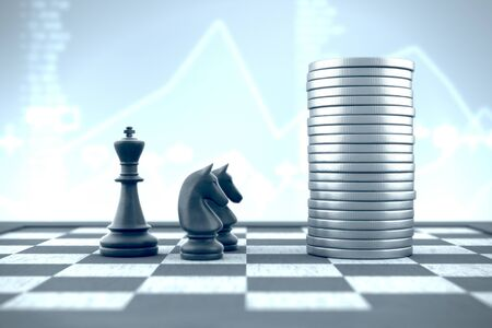 Professional knights advise king in investing money on a business background Banco de Imagens
