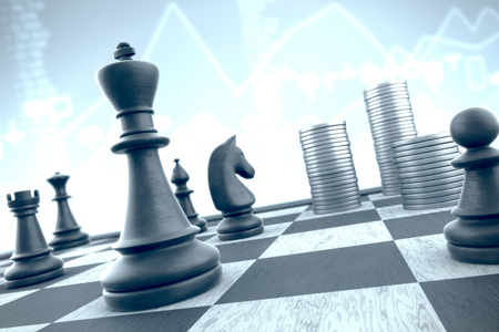 Chess strategy to capture money stacks on a blue background financial data Standard-Bild