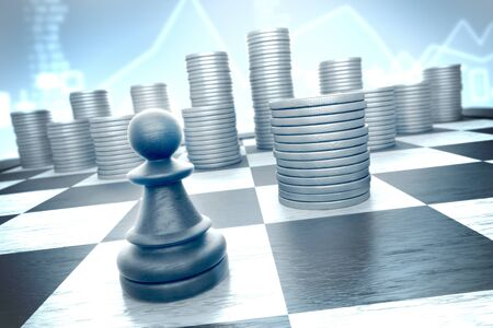 Finance concept: Brave chess piece moves to capture earnings on a blue background infographics